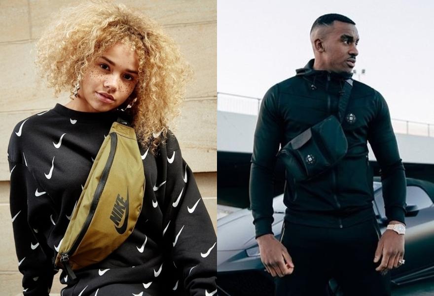 Frau mit Nike Crossoverbag und Bugzy mit Crossoverbag