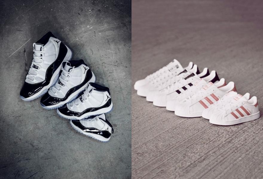Nike Jordan 11 & adidas Originals Superstar in Familiengröße