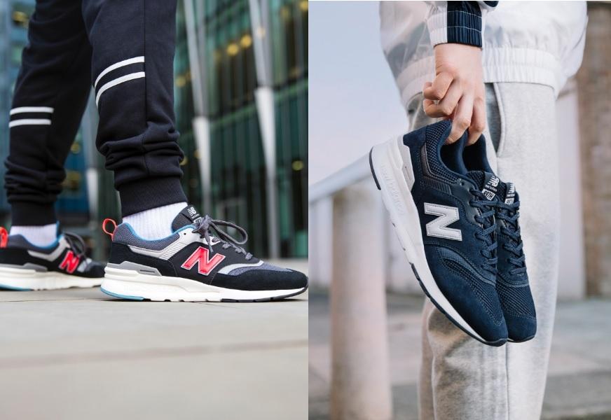 Rechts der neue New Balance 997H in Schwarz und Rot am Fuß getragen, links der 997 in Blau und Weiß in der Hand gehalten