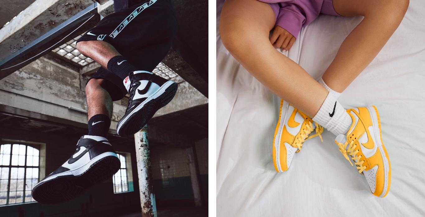 Nike Dunk in Schwarz und Weiß und links im Colourway in Gelb und Weiß