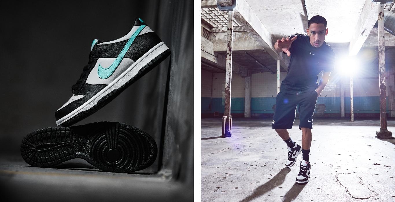 Rechts: Nike Dunk in Schwarz. Grau und Blau; Links: Männliches Model mit Nike Dunks in Schwarz und Weiß